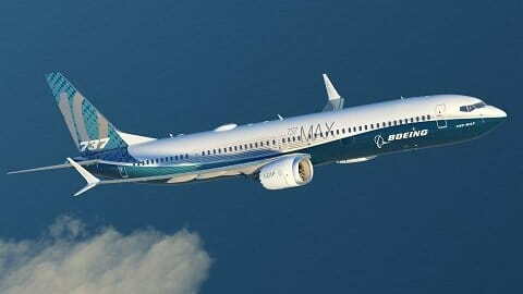 A picture of the new Boeing 737 Max on a test flight