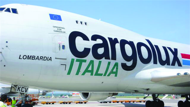 Close up of side view of cargolux Itialia B747F