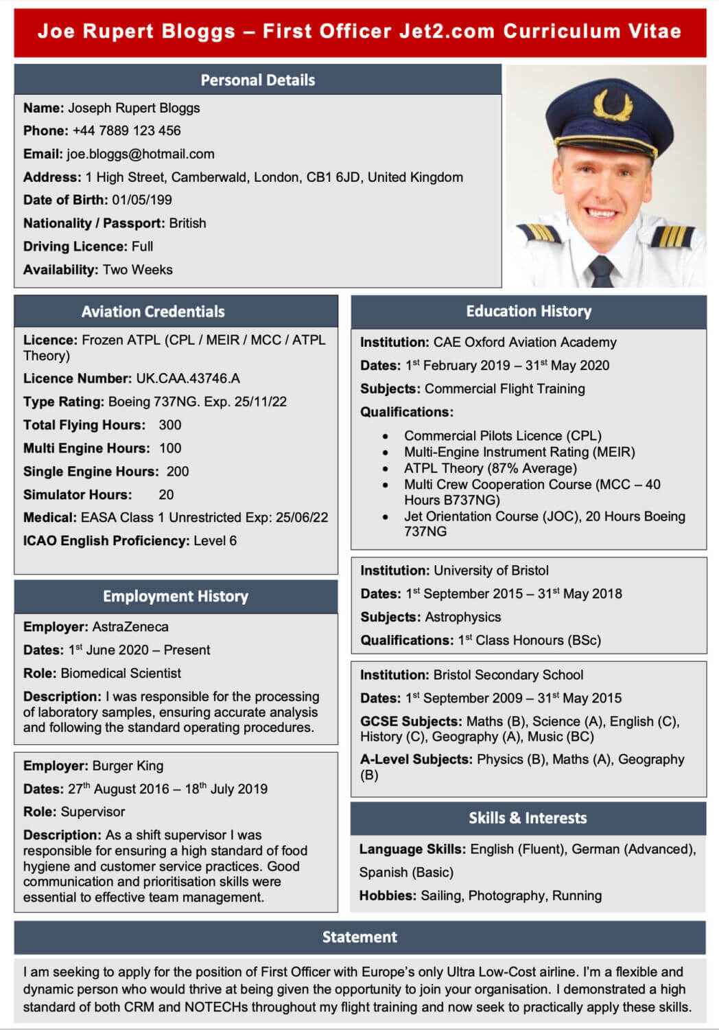 Example template CV for pilots